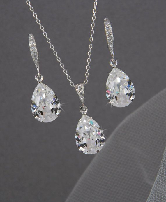 Bridal Jewelry Set, Crystal Pendant Earrings Necklace Jewelry Set , Wedding Jewelry, Bridesmaids Jewelry Set, Small Crystal Drop Set on Etsy, $55.00