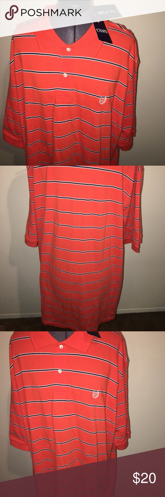 New men's orange striped Chaps shirt 2XLT Tall 🍊 Hey guys, in this listing you are purchasing a brand new men's orange striped short sleeve shirt by Chaps. The size is a 2XL Tall and it can be yours today! 🍊 Chaps Shirts Casual Button Down Shirts