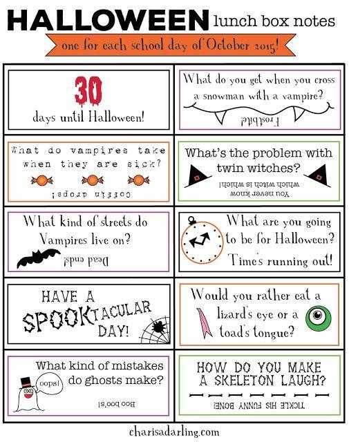 Halloween Lunch Box Notes Printables | Charisa Darling