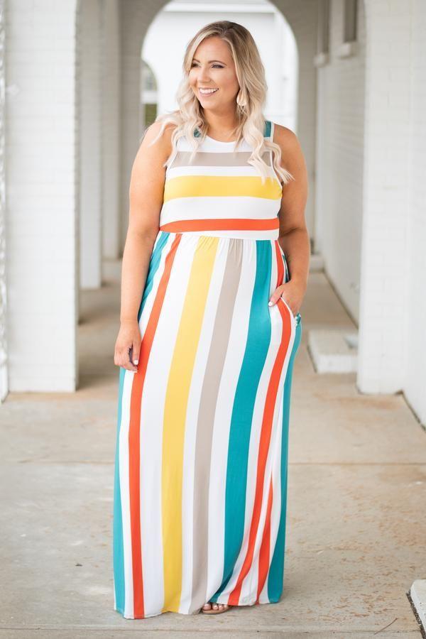 0fbcae5ad2 Always Sunny Maxi Dress, Lemon-Teal in 2019 | Make A Statement ...