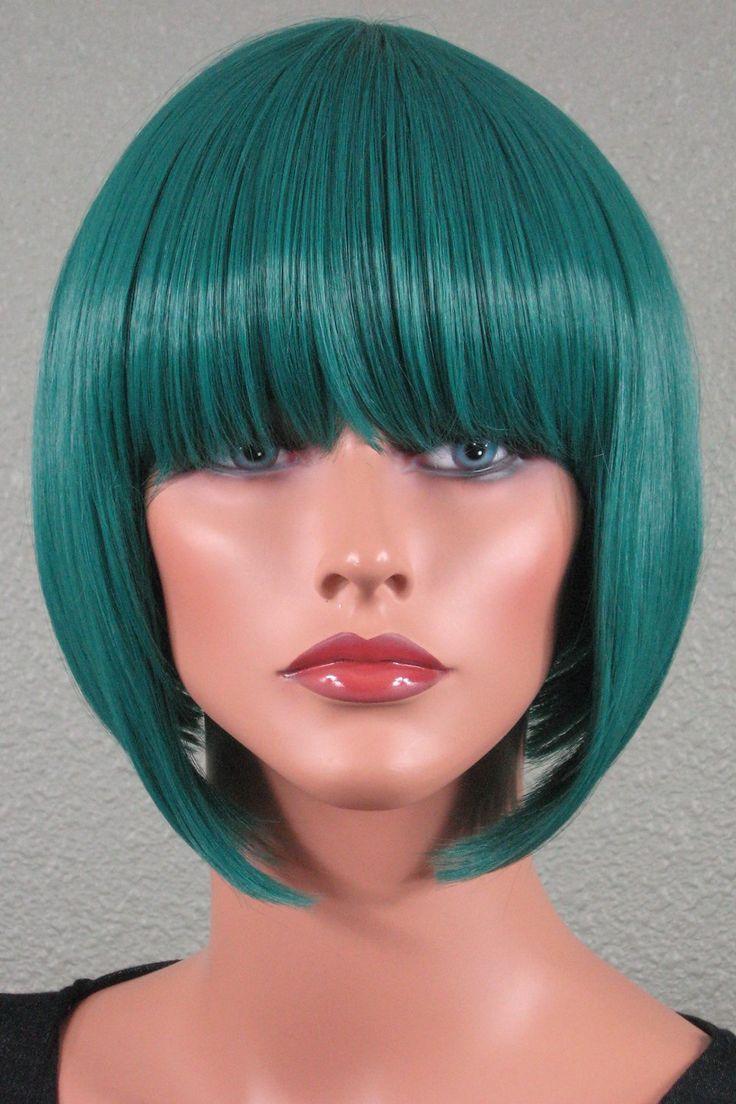 epic cosplay selene emerald green short hime bob wig 13 inches 04emg - Colored Wig