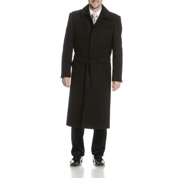 Blu Martini Men's Full-Length Wool Top Coat ($137) ❤ liked on Polyvore featuring men's fashion, men's clothing, men's outerwear, men's coats, black, mens full length coat, mens full length top coat, mens wool trench coat, mens fur lined coat and mens top coat