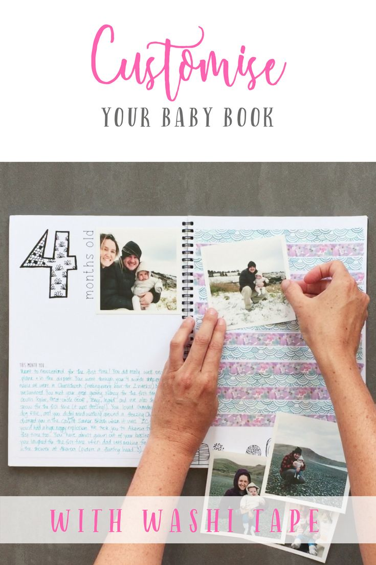 Use Washi tape to customise your memory book or Baby Book! Blueberry Co Monochrome Baby Book www.blueberryco.com.au