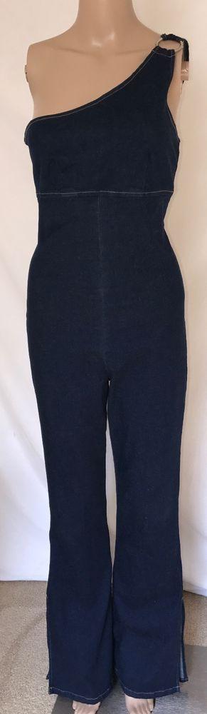 Vintage 90s One Shoulder Dark Denim Zip Up Flare Leg Women's Jumpsuit Sz 9/10 #Bubblegum #Jumpsuit