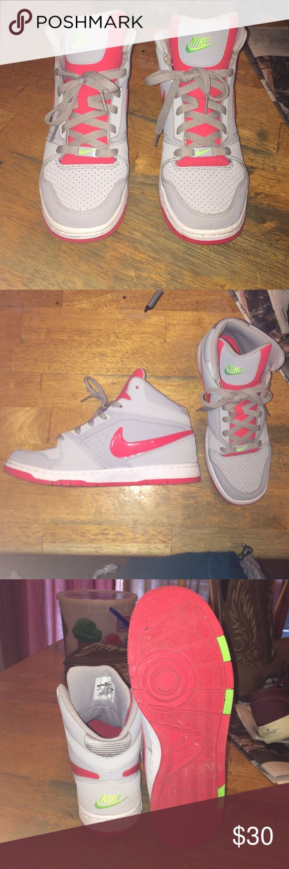 Nike Women's High Top Sneaker Size 9 Nike Hightop sneaker, worn a handful of times. Size 9, grey shoe with coral and lime green stitching Nike Shoes Sneakers