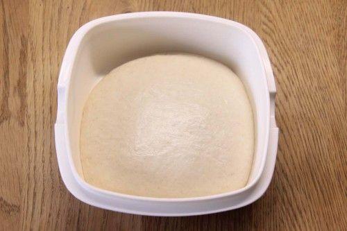 Pizzateig-Rezept: Pizzateig nach dem Gehen.