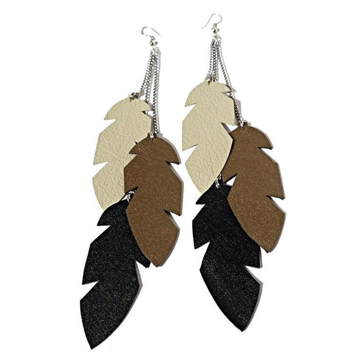 Recycled leather feather earrings. This real leather lived its earlier life as a pair of leather clothing but was remade into earrings.