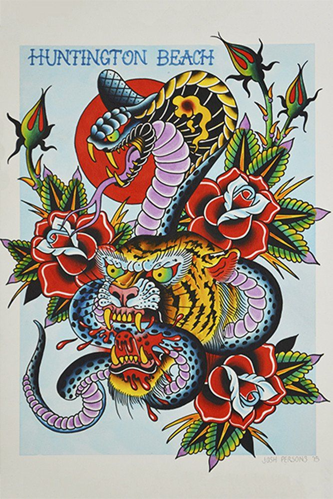 Cobra & Tiger by Josh Persons Traditional Tattoo Framed