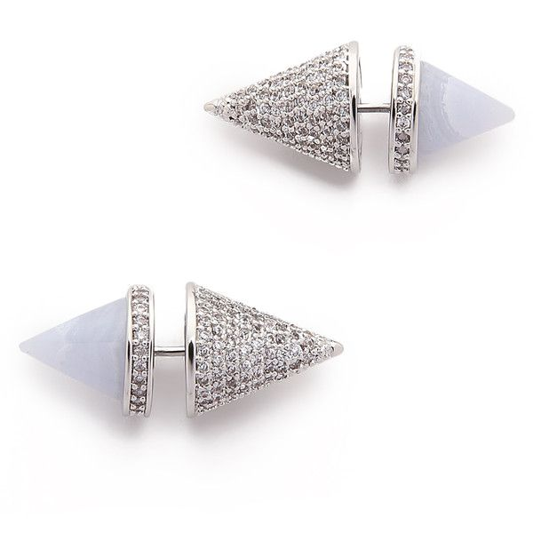 Eddie Borgo Twin Cone Studs (720 SAR) ❤ liked on Polyvore featuring jewelry, earrings, accessories, blue lace agate, blue earrings, studded jewelry, cones jewelry, blue jewelry and spike jewelry