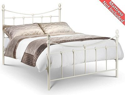 Ivory Shell Detailed Metal Bed Frame   Small Double 4ft   Fast Delivery    Pick A Day