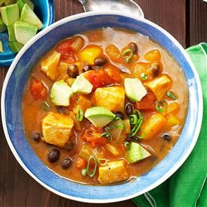Black Bean 'n' Pumpkin Chili Recipe -My family is crazy about this slow cooker chili because it uses ingredients you don't usually find in chili. Believe it or not, I discovered that pumpkin is what makes the dish so special. Cook up a big batch and freeze some for later; it tastes even better reheated. —Deborah Vliet, Holland, Michigan