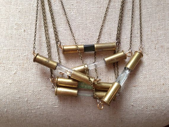 CLEAR QUARTZ Crystal Bullet Necklace. .22cal casing capsule style on Etsy, $40.00
