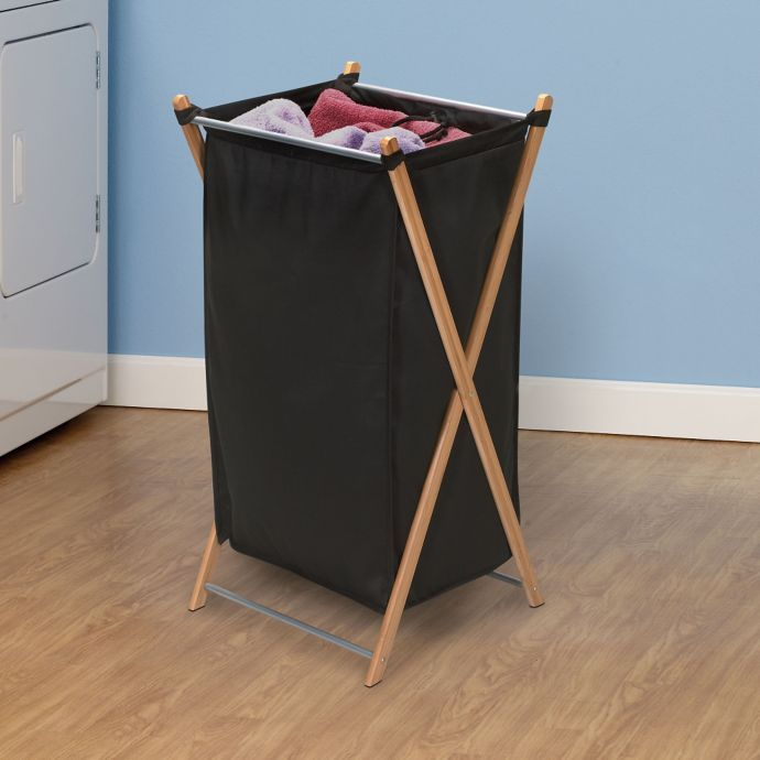 Household Essentials Bamboo X Frame Laundry Hamper Laundry