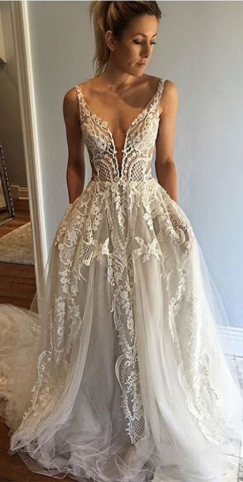 long wedding dress, 2017 prom dress, lace wedding dress https://bellanblue.com