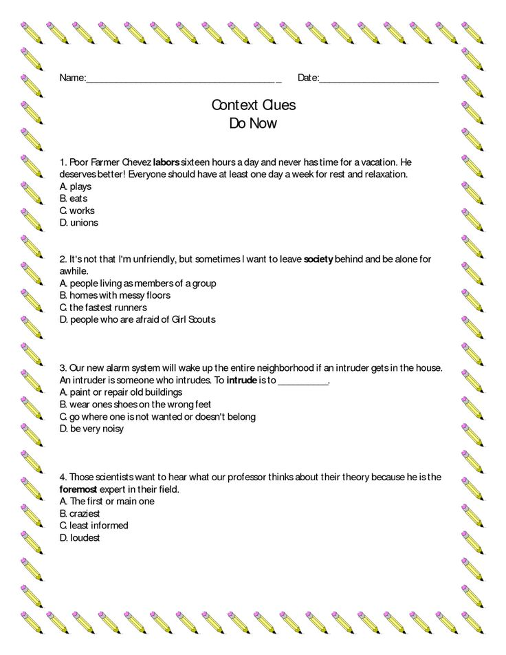 Page 2 - Context Clues Do Now Exercises