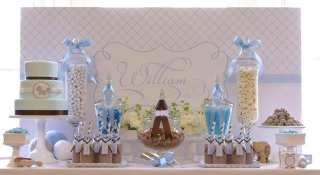 Baby Blue White And A Contrast Of Taupe Baptism Party