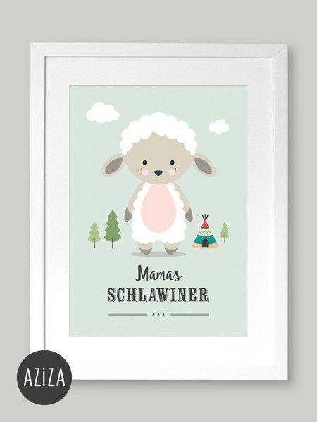 """Bilder Poster Kinderzimmer A4 """"Mamas Schlawiner"""" ein"""