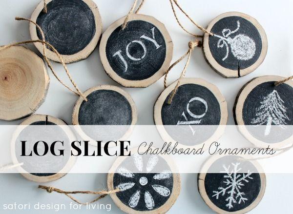 DIY Log Slice Chalkboard Ornaments   Satori Design for Living