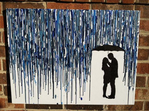 Melted Umbrella Crayon Art with Silhouette from Light on Etsy: Crayonart, Melted Crayon Art, Melted Crayons, Craft Ideas, Diy, Crafts