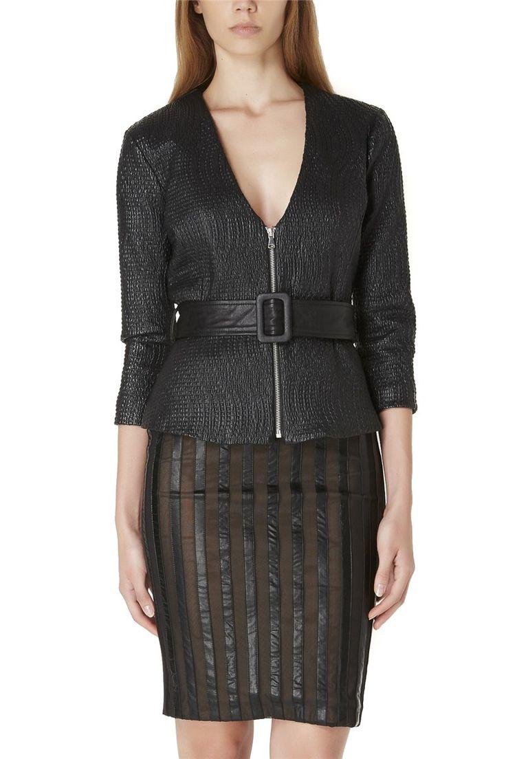 Almagores Black Faux Leather Jacket With Belt, Art 541AL30300