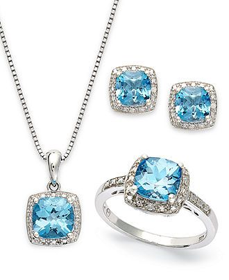 Sterling Silver Jewelry Set, Blue Topaz (5-7/8 ct. t.w.) and Diamond Accent Necklace, Earrings and Ring Set - Gemstones - Jewelry & Watches - Macy's