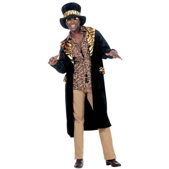 Fluwelen pooier/pimp kostuum. Dit mooie pooier pak bestaat uit een zwarte nep bont jas en hoed met tijgerprint op de revers, polsbanden en hoed. Bestel ook de pimp stok en gouden accessoires bij dit pak.