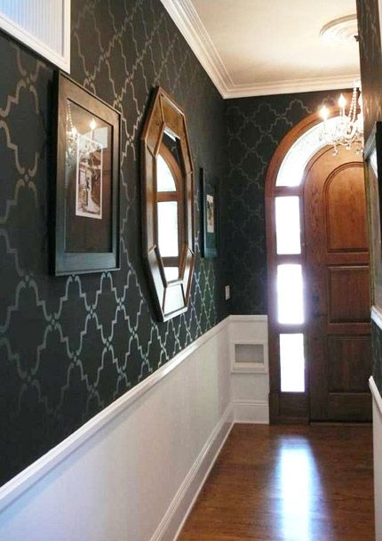 stencils: Dining Rooms, Decor Ideas, Wall Stencil, Colors, Paintings Wall, Flats, Black Wall, Design, Accent Wall