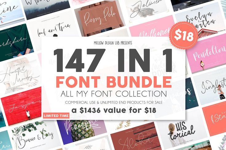147 IN 1 Font Bundle SALE! - perfect for your blog or postcard for wedding. Also with their help, you can create a logo or beautiful frame for your home. Or just use these various fonts for commercial use, logo, greeting cards, branding materials, business cards, quotes, posters, websites, e-books, online publications, phrase for sale and more! $18 #ad #creativemarket #brand