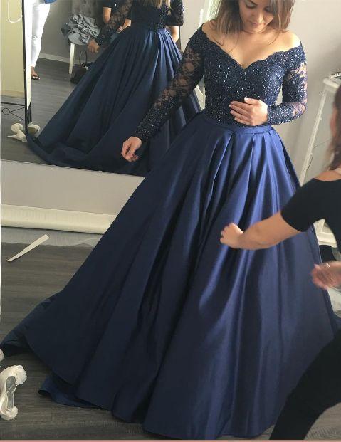 Long Sleeve Dark Navy Prom Dress,Long Prom Dresses,Charming Prom Dresses,Evening Dress, Prom Gowns, Formal Women Dress,prom dress