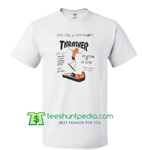 thrasher magazine neck face vs peter ramondetta t shirt