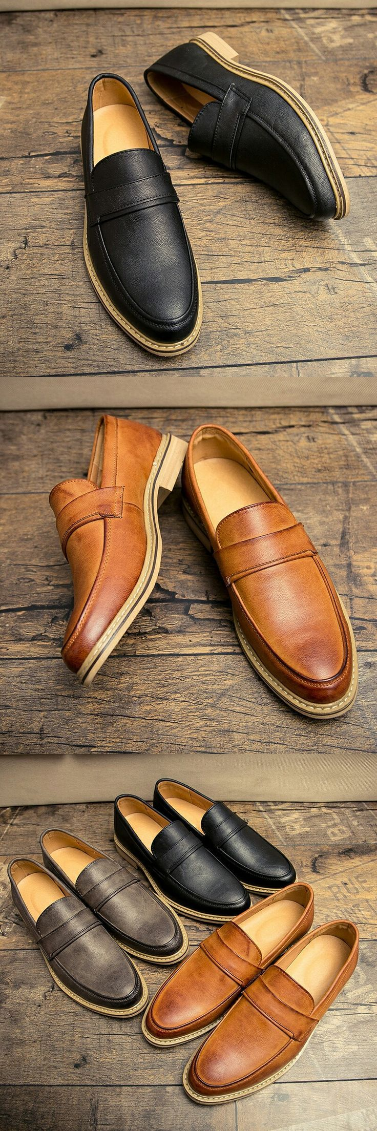 New Arrival Vintage Leather Men Dress Shoes Smart Retro Formal Brogue Pointed Toe Carved Penny Loafer Oxfords Wedding Shoes