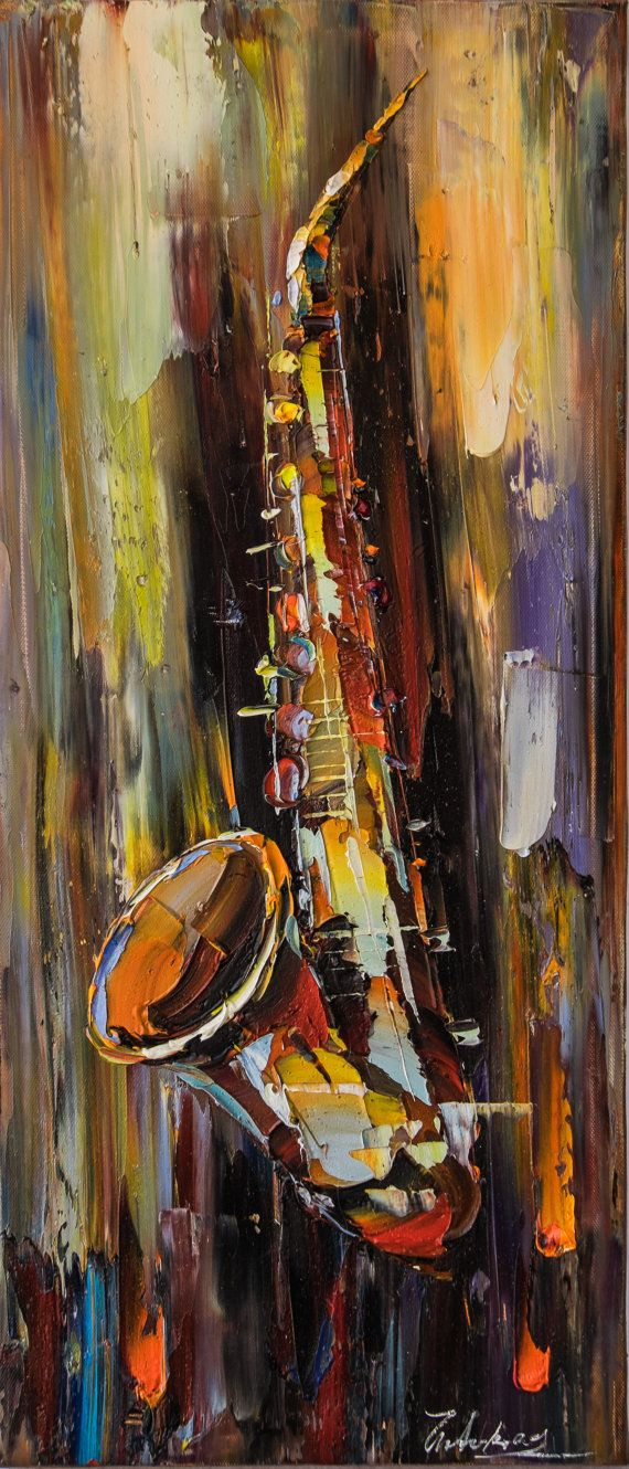 Saxophone  Oil Canvas Painting Awesome Wall by RingsUnion on Etsy
