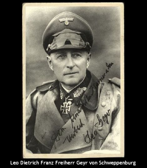 Leo Dietrich Franz Freiherr Geyr von Schweppenburg (1886-1974) was a German cavalry and armor officer best known for his command of Panzer Group West that battled the Allied invasion of Normandy.  Von Schweppenburg fought nonstop from 1939 until the end of WW2. Postwar, he spent 2 years in US captivity and during the early 1950s he was instrumental in advising how to restructure the newly built German Army (Bundeswehr) of West Germany.