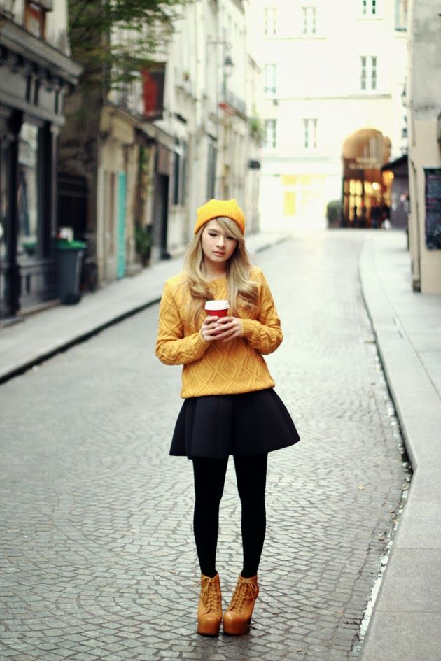 Brown Platform: Mustard Beanie + Cable Knit Sweater + Black Skirt + Tan Lace-Up Boots