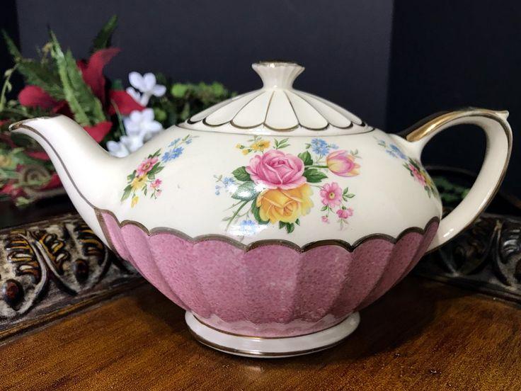 Sadler Teapot, Pink Gilded Tea Pot, Pink Roses, Full Sized 4 Cup Tea Pot -K