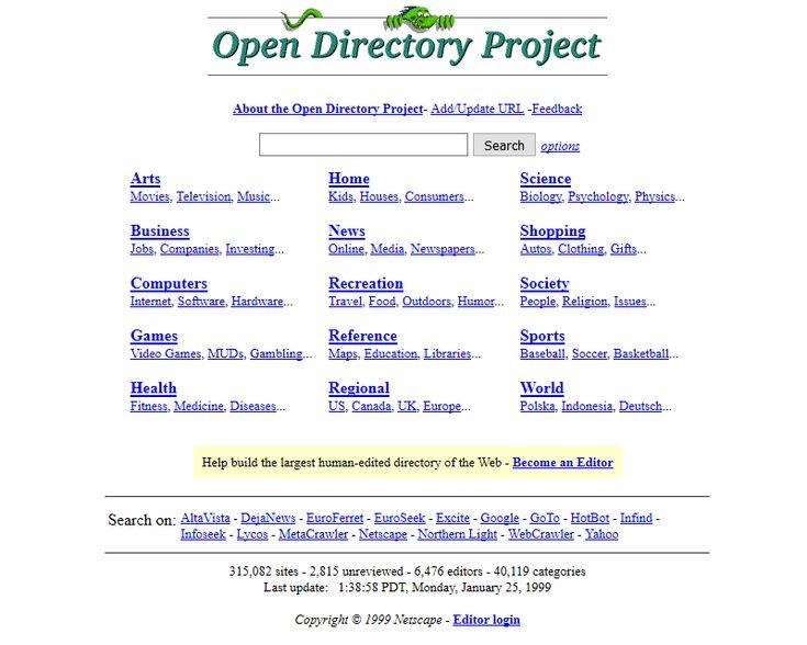 Dmoz.org website in 1999
