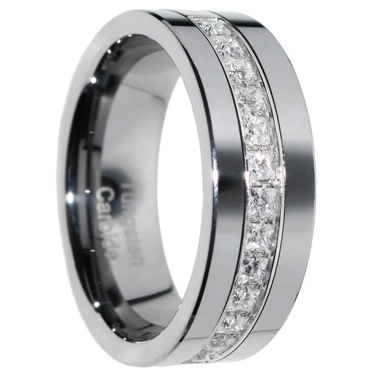 1 Carat Princess Cut Polished Finish Pipe Cut Tungsten Wedding Ring Size 7-15