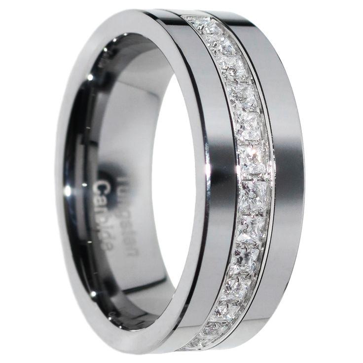 1 Carat Princess Cut Polished Finish Pipe Cut Tungsten Wedding Ring Size 7-15