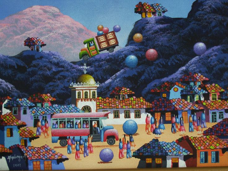 As a child, I grew up in Ecuador in a house that had colorful landscape paintings depicting giant colorful eggs and balls... --- gonzalo endara crow - Google Search