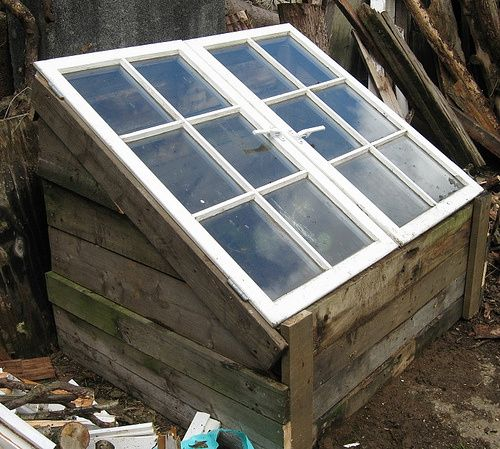 take some pallets and some old windows More