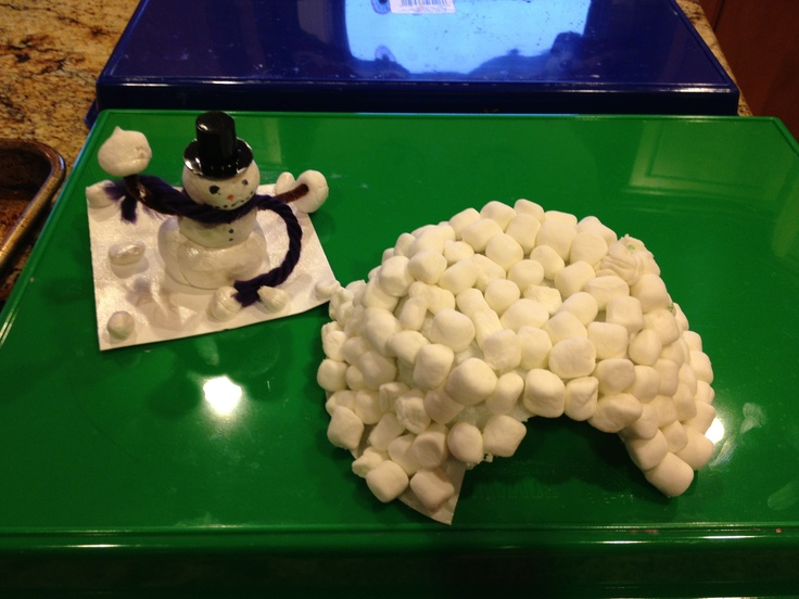 Marshmallow Igloo All you need are marshmallows, white glue and a styrofoam bowl... This was done by a 3yr old so it's pretty easy for kids. Snowman in the background is made of Sculpty clay and pipe cleaners... An older kid craft.