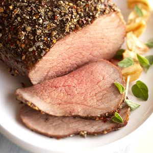 Herb- Pepper Rubbed Beef  PER SERVING: 170 cal., 4 g total fat (1 g sat. fat), 56 mg chol., 275 mg sodium, 31 g pro.