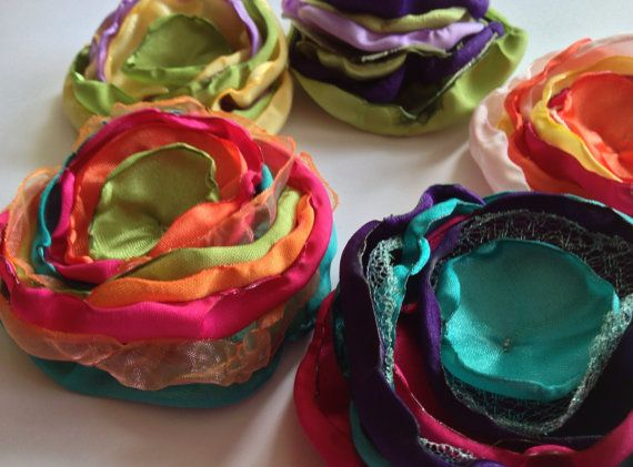 Satin flowers, singed fabric flowers, handmade fabric flowers, satin roses, hair accessories, set of 5 on Etsy, $12.50