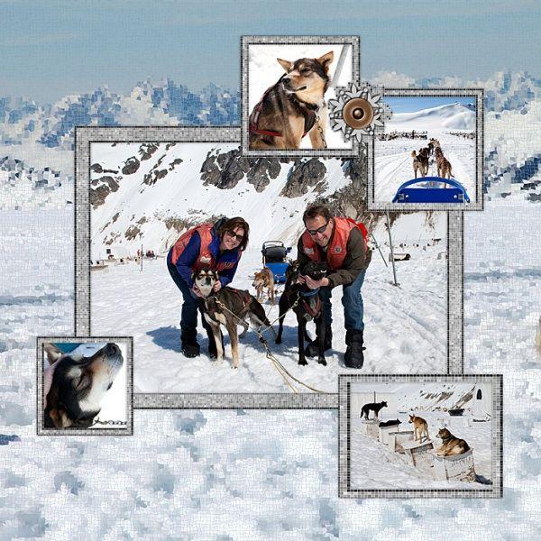 #Disney #Scrapbook Page Layout - @Nancy Walman Alaska Dog Sledding using @pixels2Pages template