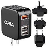 #8: Oria Travel Adapter 3 USB Plug Charger with Quick Charge 3.0 30W Fast Charger 2.4A Current Recognition with Detachable US/UK/EU/AU Plug for iPhone Smartphone iPad Pro Camera and Other Devices #amazon #movers #shakers #electronics #photo