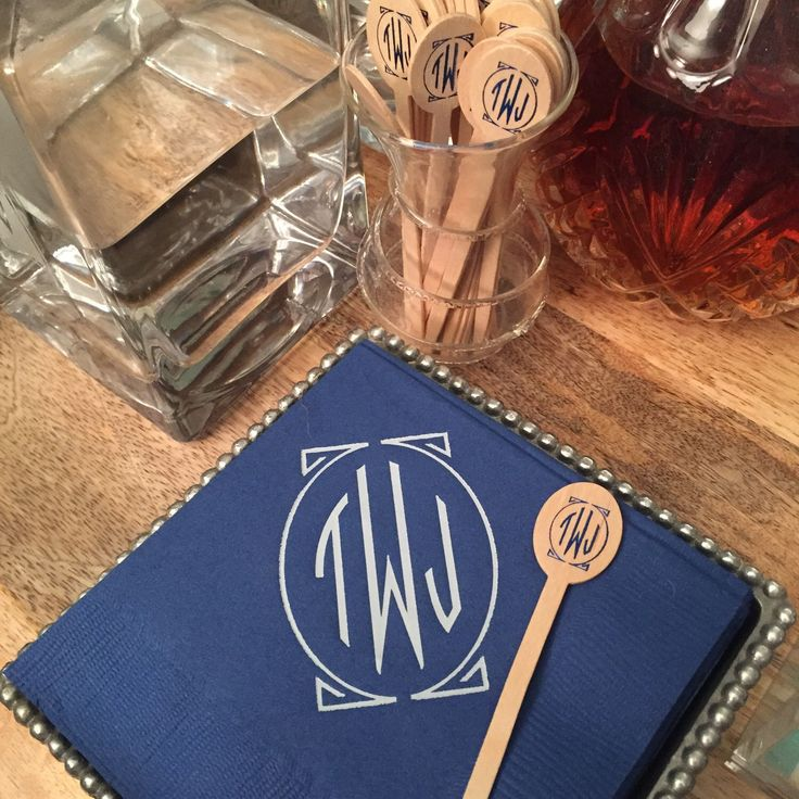 personalized cocktail napkins + drink stirrer gift set, wedding napkins and bar accessories  by SequinsAndLipstick on Etsy https://www.etsy.com/listing/220593372/personalized-cocktail-napkins-drink