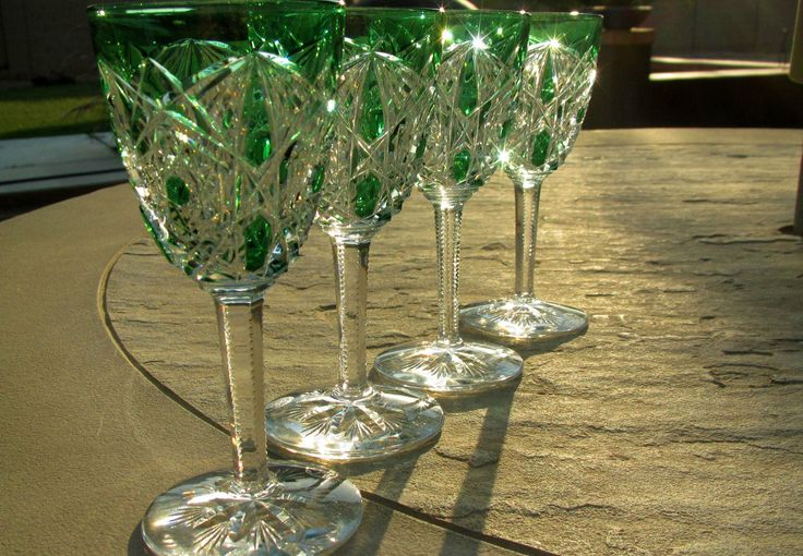 Vintage Baccarat Crystal Green Cut Clear Lagny Port Wine Glasses RARE by KimmsAttic on Etsy