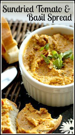Sundried Tomato & Basil Spread Recipe - easy homemade snack or appetizer | SnappyGourmet.com