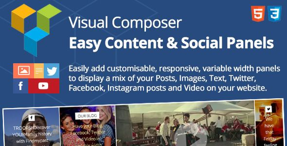 Easy Content & Social Panels for Visual Composer . [Important – June 6, 2016] The update 1.4.1 is now available to fix Instagram problems. The username and hashtag choices will finally continue to work! You'll just need to re-create your access token using the link provided in the new documentation in the