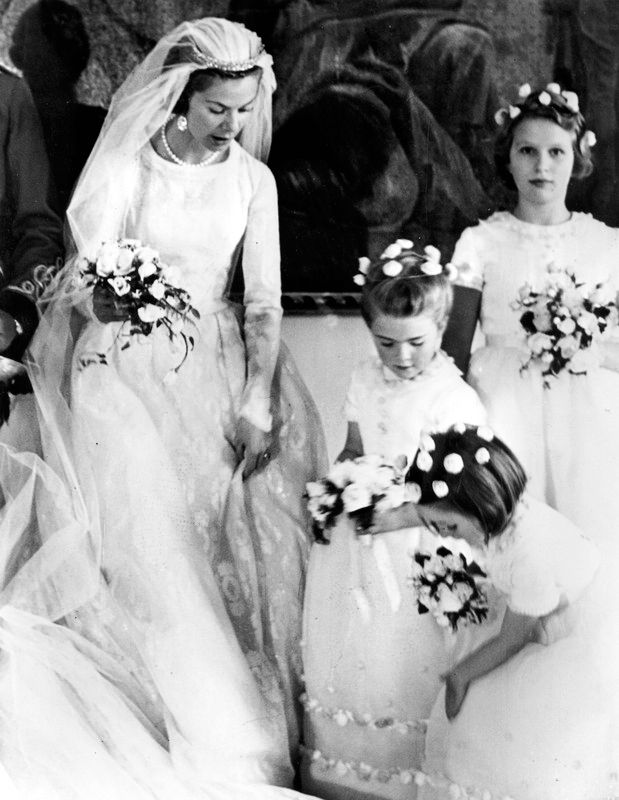 Katherine, Duchess of Kent on her wedding day on 8 June 1961. Chief bridesmaid was Princess Anne on the right.